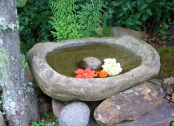 Birdbath outside meditation hall